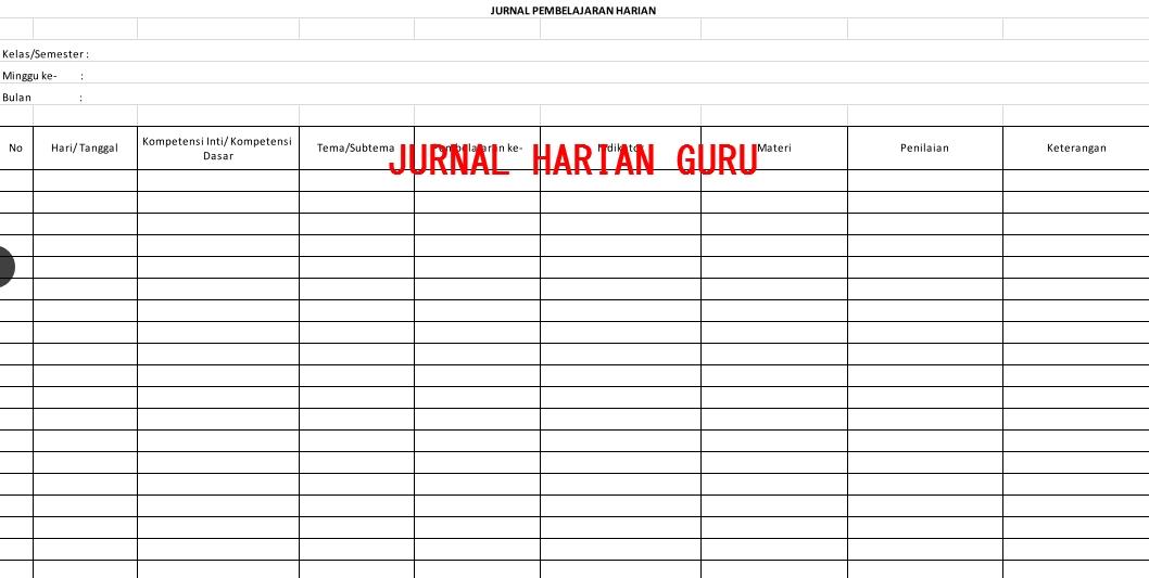 Format Jurnal Harian Guru K13