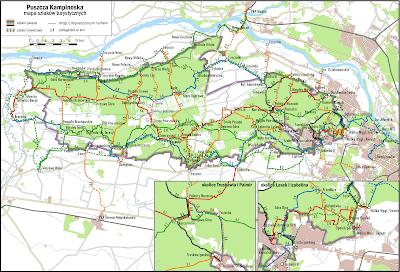 Mapa szlaków turystycznych w Kampinoskim Parku Narodowym