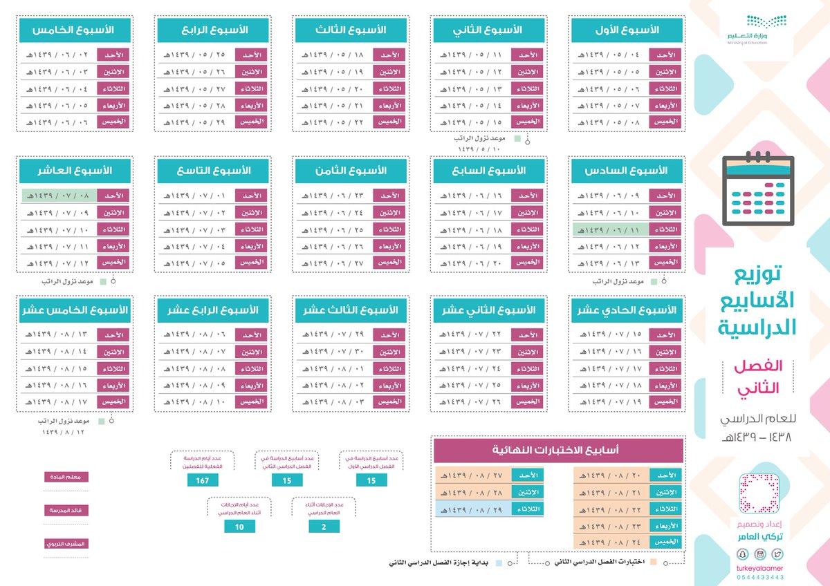 التقويم الدراسي + توزيع الأسابيع الدراسية للفصل الثاني ...