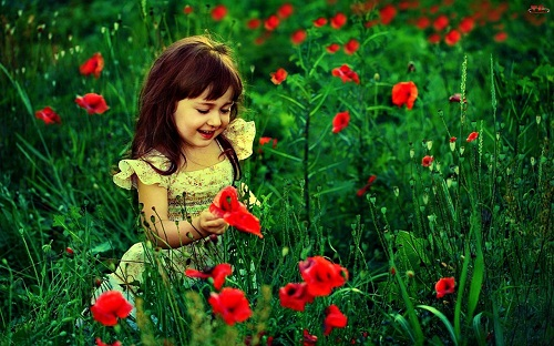 Beautiful Baby Girl Playing with Flowers