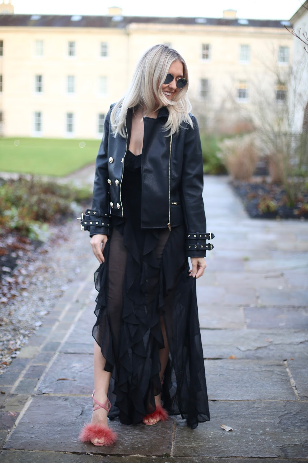 black floaty maxi dress