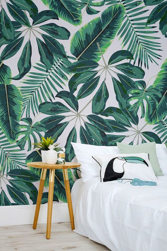 green touch, big leaves wallpaper, tucan pillow