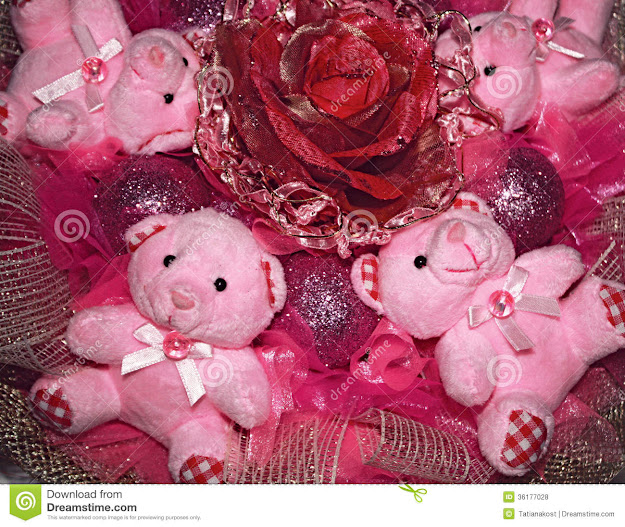 Four Pink Teddy Bears And Artificial Flowerchristmas Positio
