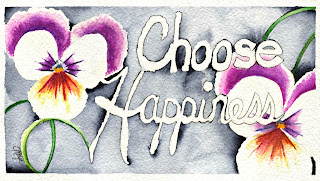 Choose Happiness quote with white and purple flowers