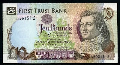 10 Pounds banknote First Trust Bank currency