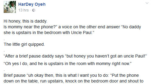 LMAO! Read this hilarious story I found on Facebook