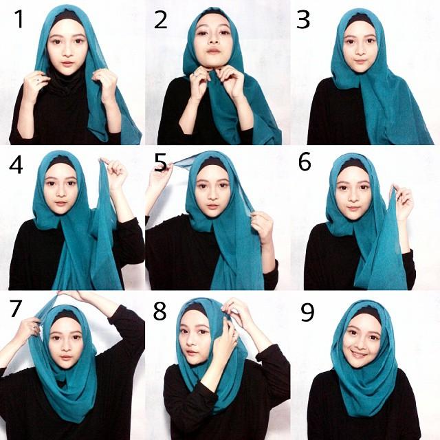 tutorial hijab segi empat paris modern