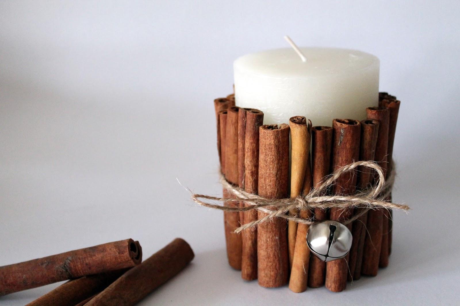 DIY, Basteln: Kerze mit Zimtstangen in Weihnachtsdekoration, Wohndekoration und Geschenkideen - DIYCarinchen