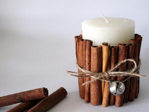 DIY Kerze mit Zimtstangen