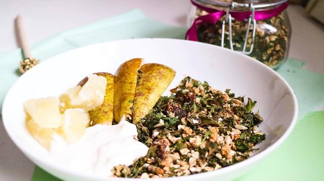 Granola, quick, healthy, cashew, kale, dates, cinnamon, homemade, quick, easy, healthy, natural, sugar free, vegan, dairy free, gluten free