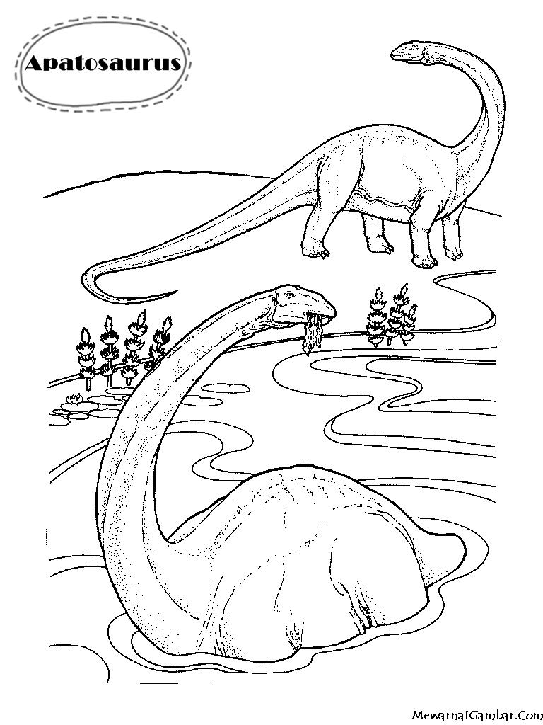 Mewarnai Dinosaurus Apatosaurus | Mewarnai Gambar