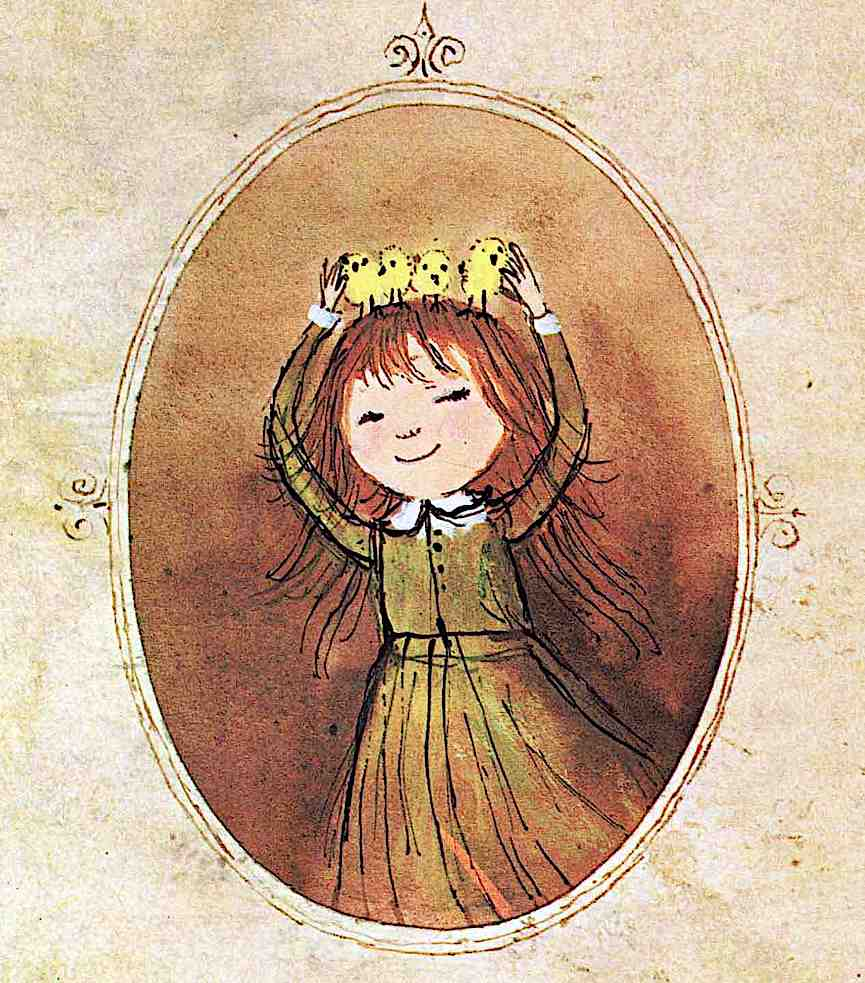 an Alice and Martin Provensen illustration, little girl with a crown of baby chicks