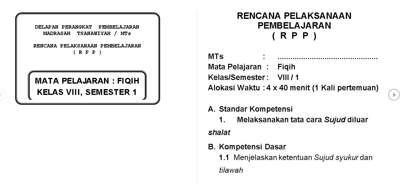 Download RPP Fiqih MTs berkarakter Kelas 7,8,9 Format Doc