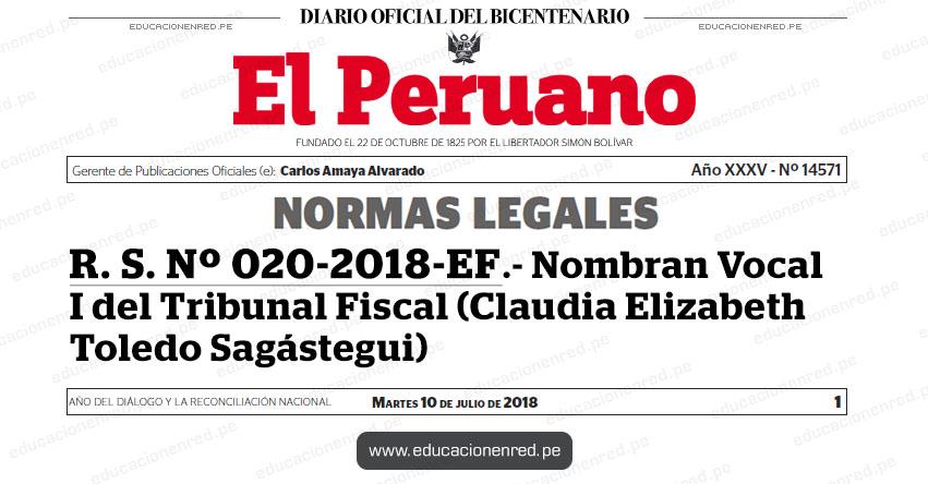 R. S. Nº 020-2018-EF - Nombran Vocal I del Tribunal Fiscal (Claudia Elizabeth Toledo Sagástegui) MEF - www.mef.gob.pe