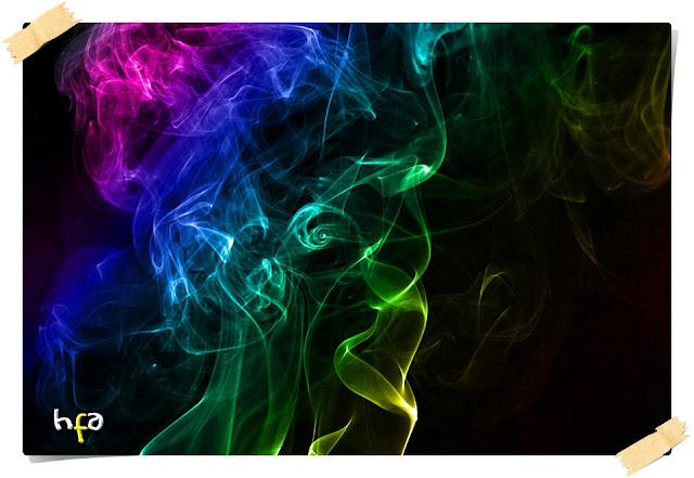 cara membuat asap berwarna pelangi, membuat foto asap dalam gelap, edit foto dengan adobe photoshop