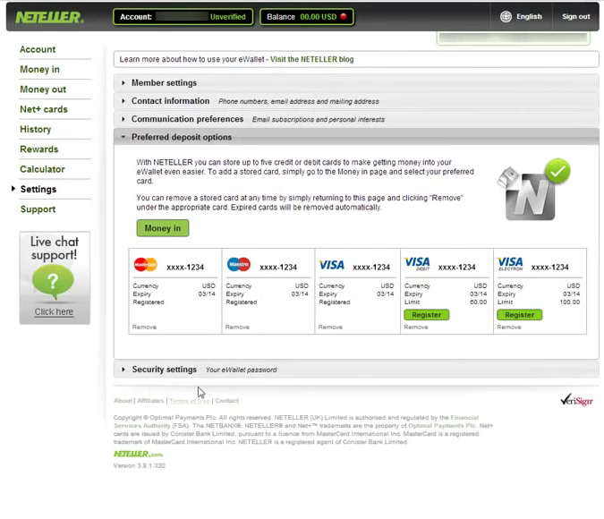 Neteller Account Settings Screen