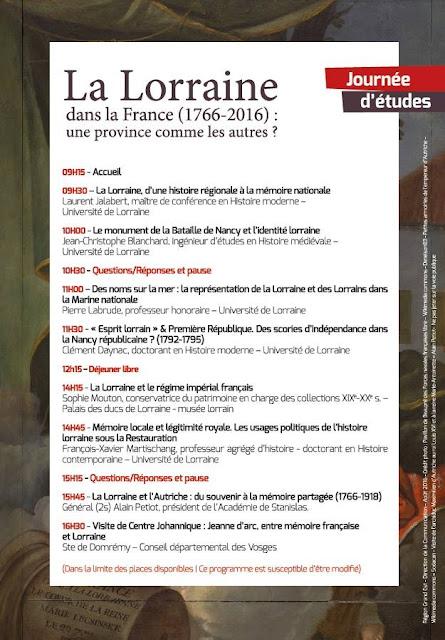 DOMREMY-LA-PUCELLE (88) - Journée d'études : La Lorraine dans la France (24 sept 2016)