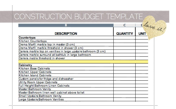 Home improvement budget excel template free project for Building renovation project plan template