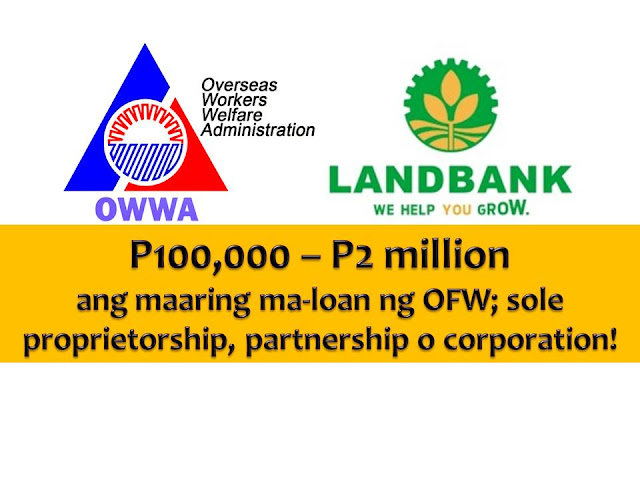 Here's another opportunity for OFWs who wants to pursue business in the Philippines.  The Overseas Workers Welfare Administration (OWWA) and Land Bank of the Philippines (LBP) have relaunched its reintegrated program for OFWs with a guaranteed fund of P1 billion pesos.  Philippine Labour Attache for Dubai and the Northern Emirates Ofelia Domingo confirmed that the integration program was relaunched last week.  Dominggo said an interested party must be an active OWWA member whose membership dues are updated.  Former OFWs are now being considered, who have been in the Philippines for three years since re-settlement.