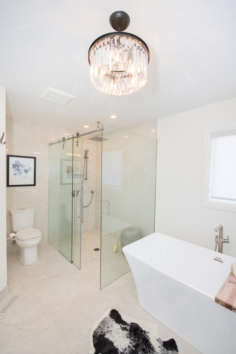 crystal chandelier in luxury washroom