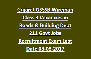 Gujarat GSSSB Wireman Class 3 Vacancies in Roads & Building Dept 211 Govt Jobs Recruitment Exam Notification Last Date 08-08-2017