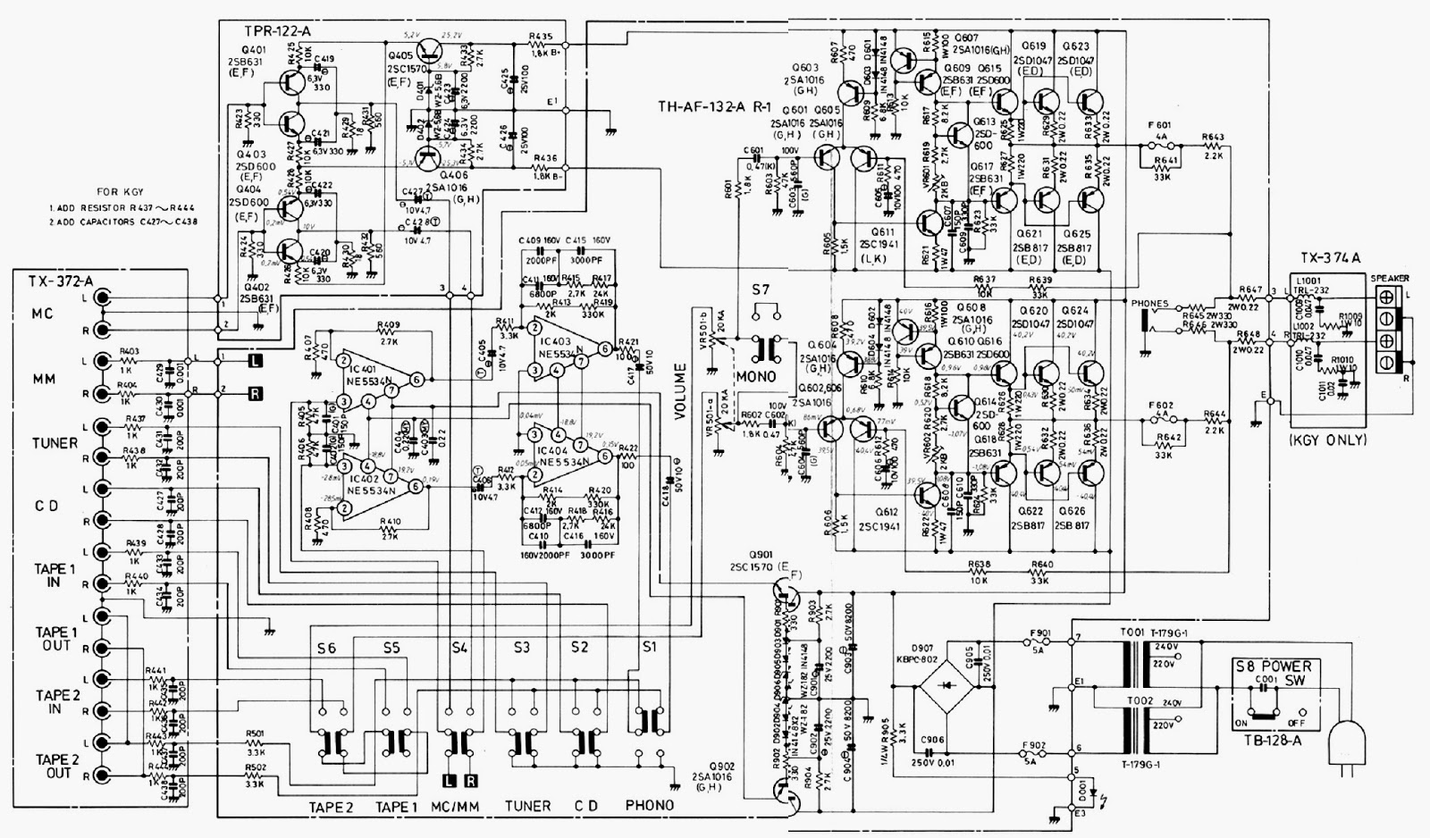 ROTEL RA 840BX – INTEGRATED STEREO AMPLIFIER – CIRCUIT DIAGRAM