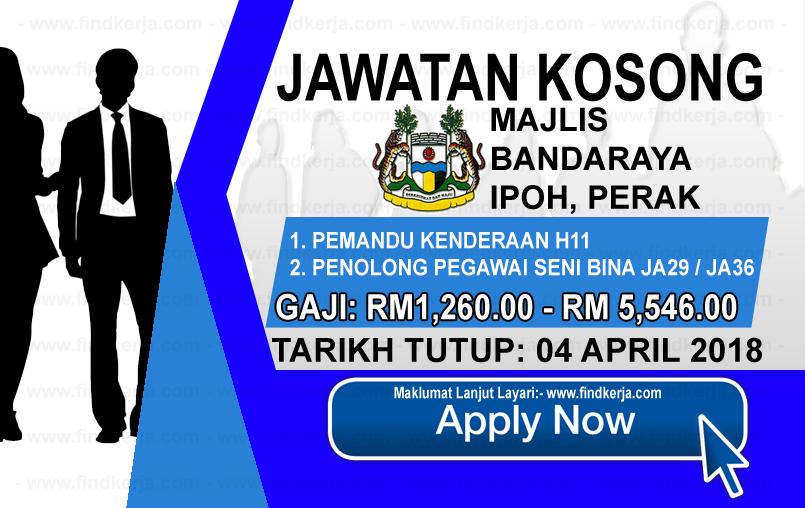 Jawatan Kerja Kosong MBI - Majlis Bandaraya Ipoh logo www.findkerja.com april 2018