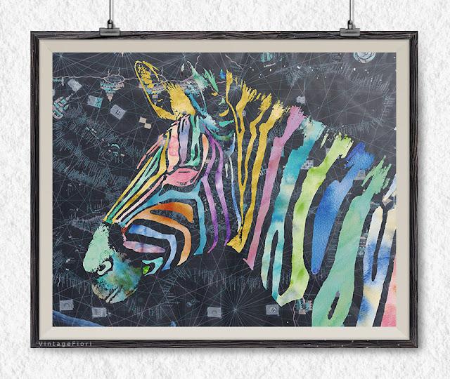 Etsy - zebra art print, zebra poster, nursery prints, wall decor