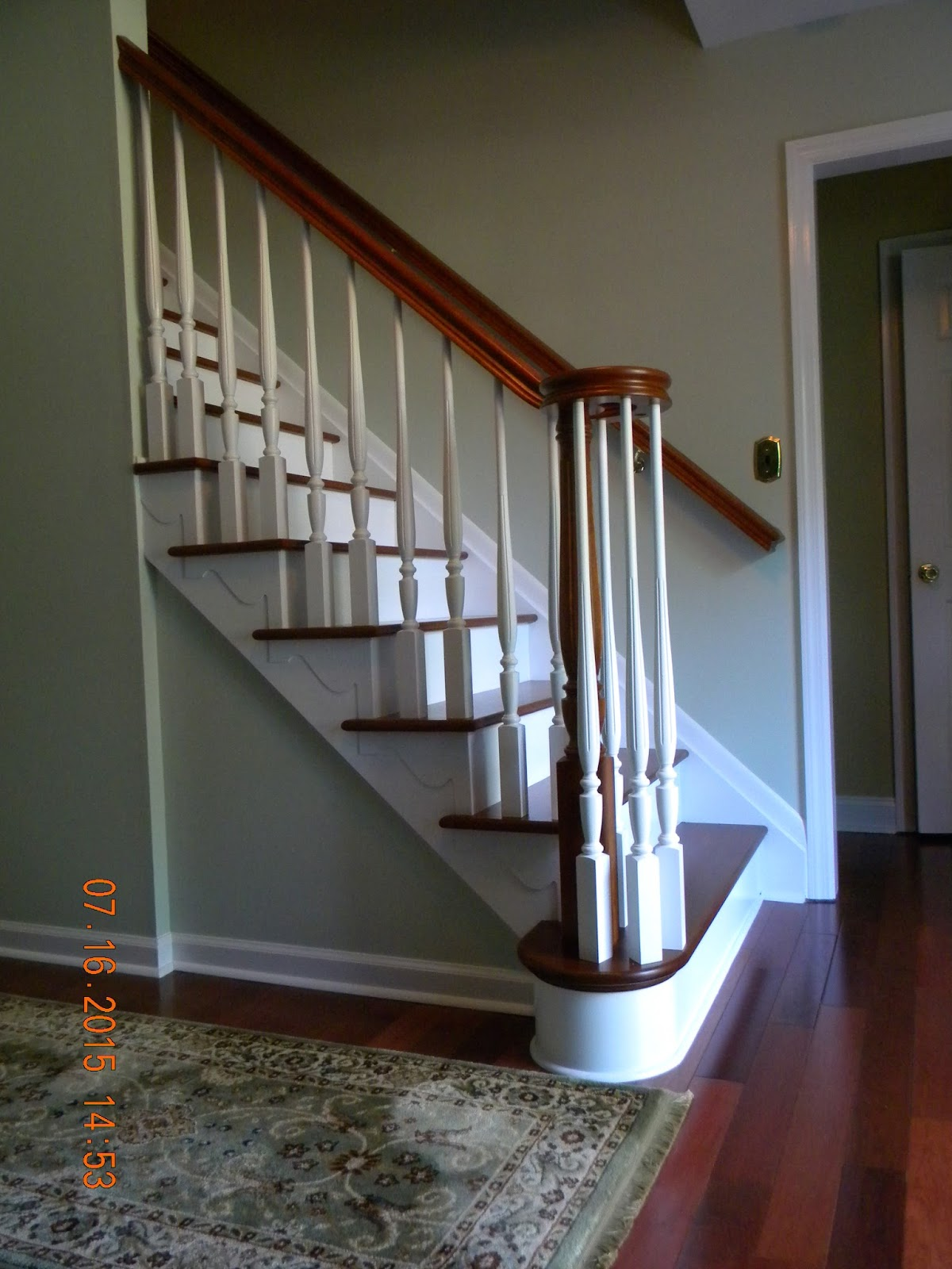 Wood Stairs And Rails And Iron Balusters August 2015