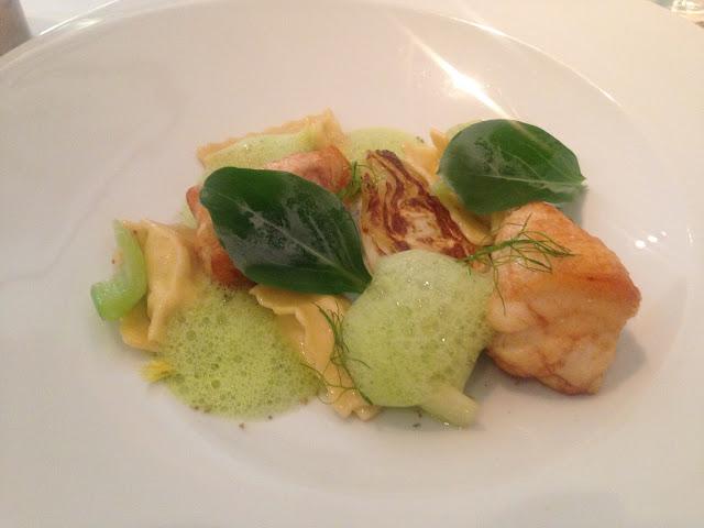 Monkfish - Agnolotti, Fennel, Celery & Oyster Leaf.
