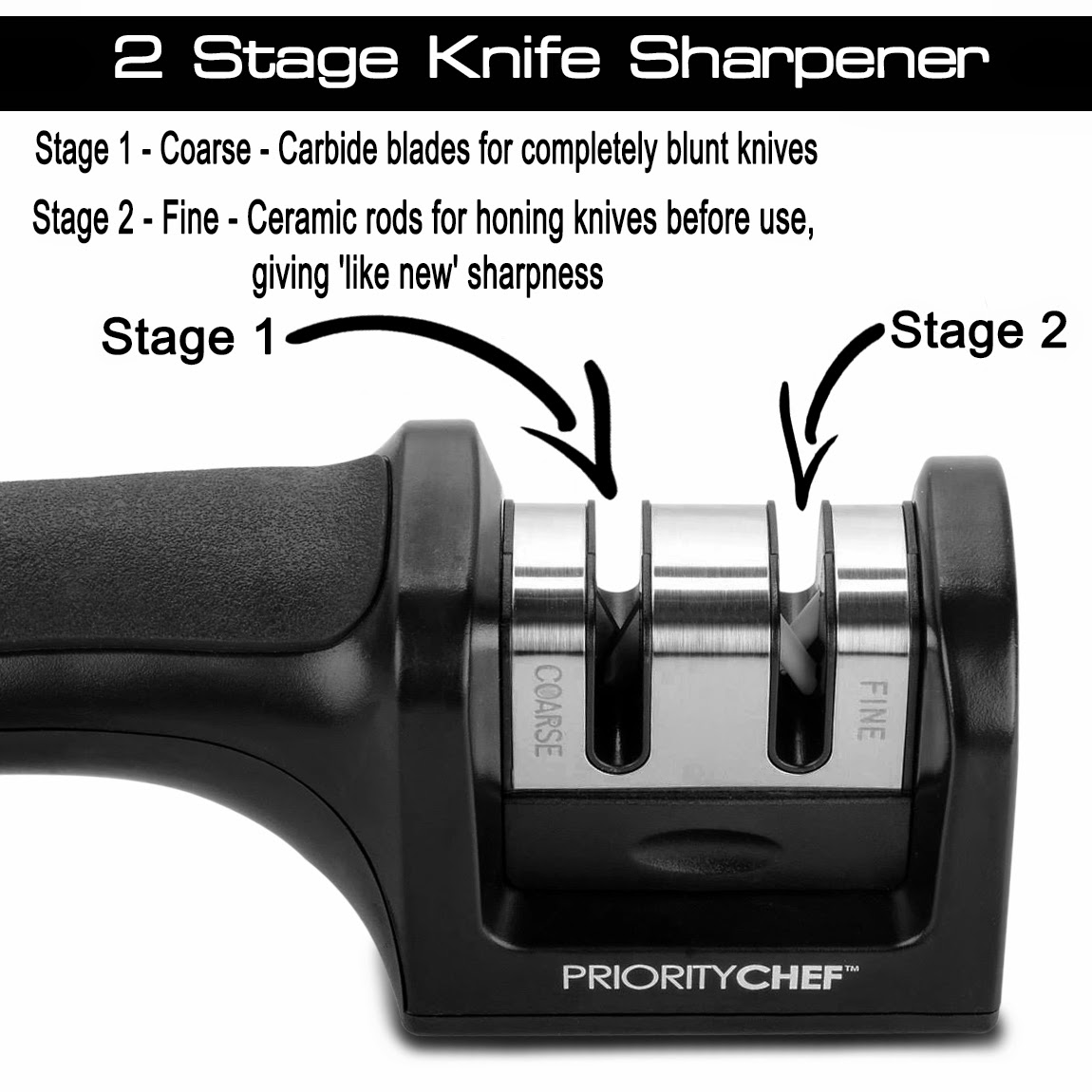 Priority Chef's knife sharpening system has been designed to turn any dull or blunt knife into as sharp as new.