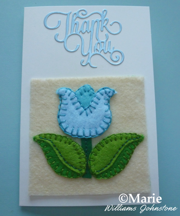 Spring design blue felt tulip flower applique sewing thank you card design