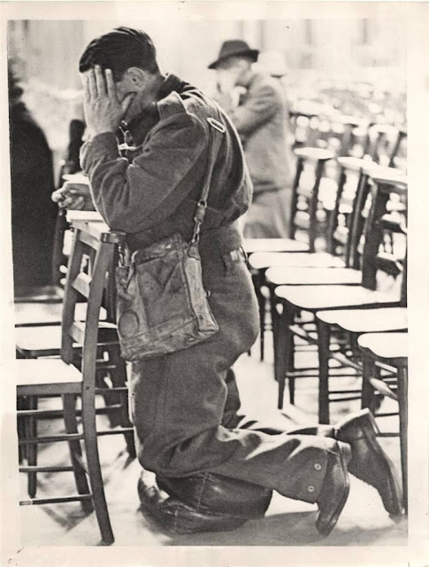 WWII British Soldier in Battledress Prays in Westminster Cathedral