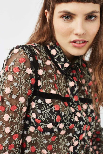 pink embroidered floral blouse black,