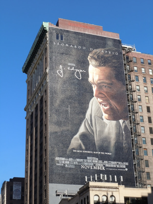 Giant J. Edgar movie billboard NYC