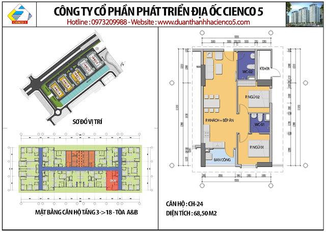 Mặt bằng căn hộ CH24 tầng 3-18 tòa HH02A&B