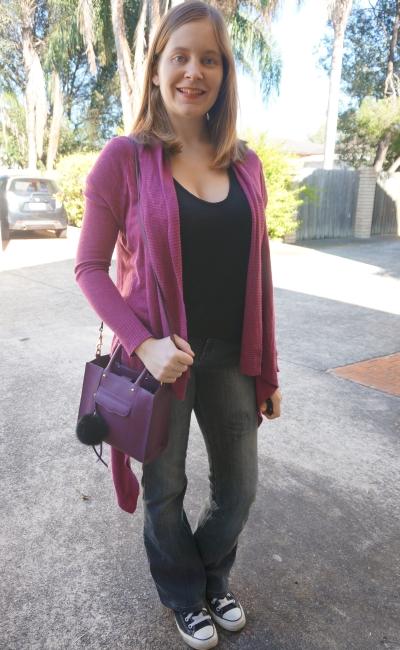 AwayFromBlue | purple cardi black tee flares and Converse SAHM jeans outfiy