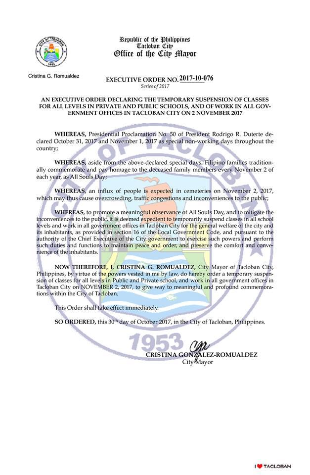 November 2 2017 walang pasok Tacloban