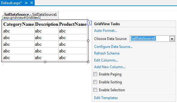 """Choose Data Source:"" drop down list"