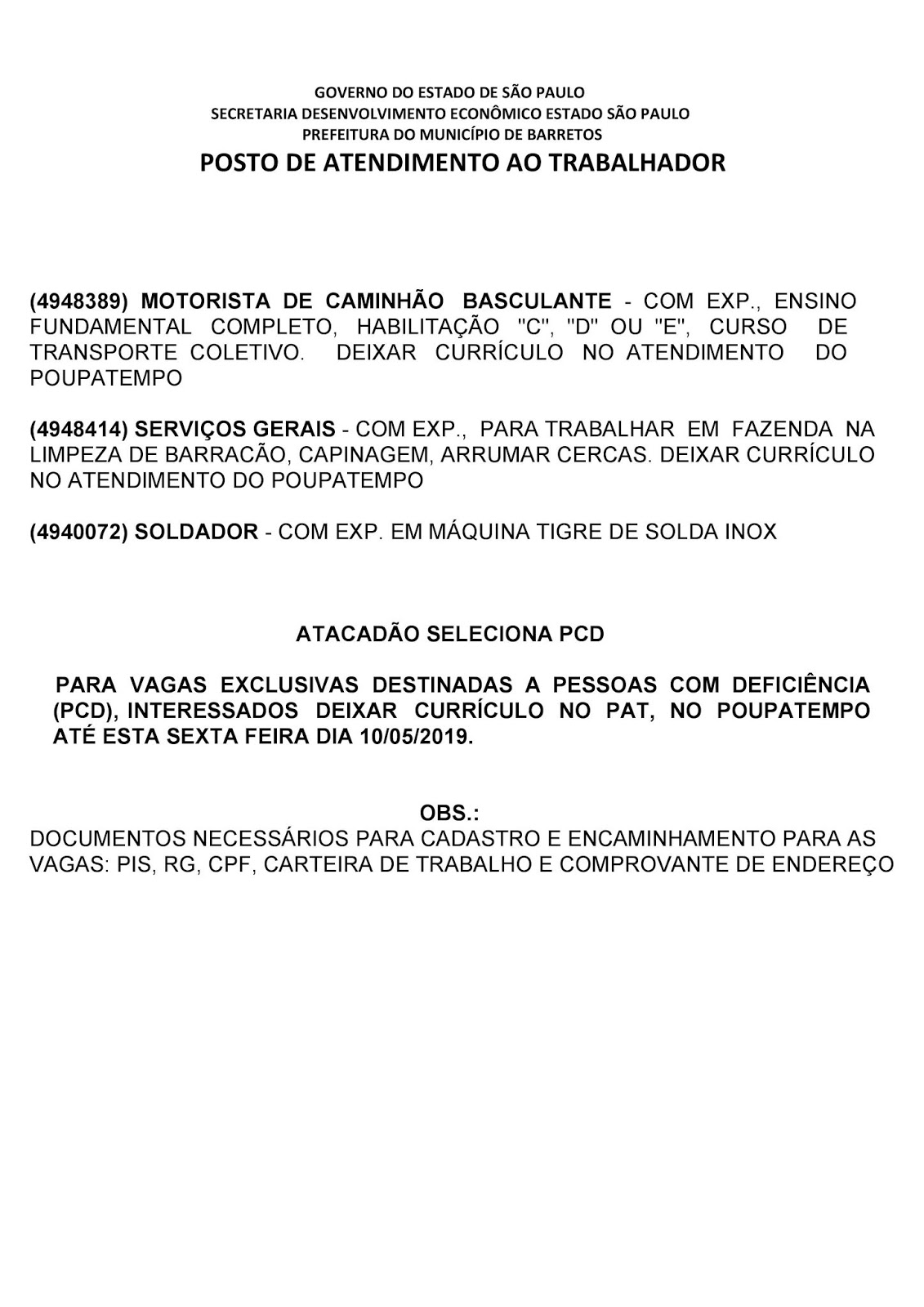 VAGAS DE EMPREGO DO PAT BARRETOS-SP PARA 10/05/2019 SEXTA-FEIRA - PAG. 2