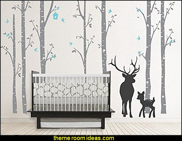 Birch Decal with Buck, Seven Birch Trees Decals, Buck Decal, Nursery Birch Trees,christmas Deer Tree Decal,wall Sticker,stickers,kids