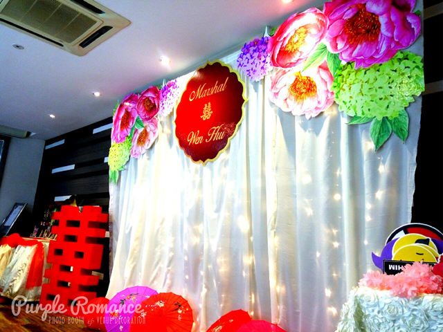 kuala lumpur, selangor, elegant, unique, special, photo booth malaysia, kl, pj, double happiness, love corner, stage backdrop, fairy lighting, logo, peonies, peony, umbrellas, walkway