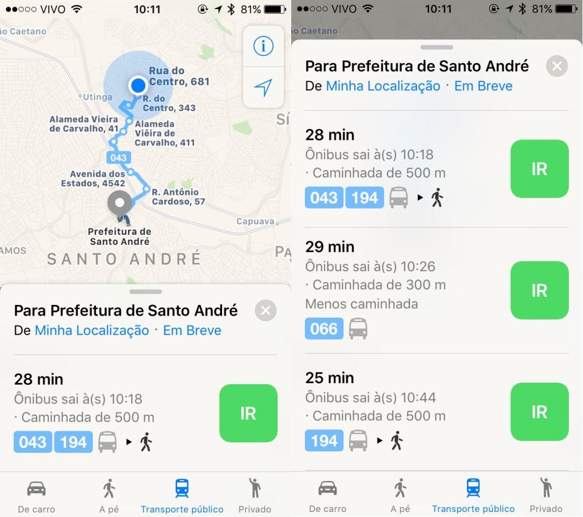 rotas de transporte público nos Mapas da Apple