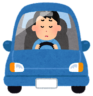 運転している男性のイラスト(考える)