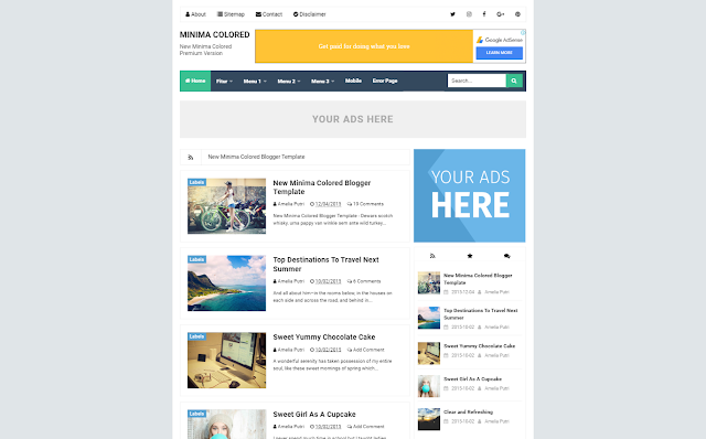 Minima Colored Premium Responsive Blogger Template