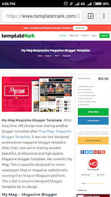 My mag Premium Blogger template patch here