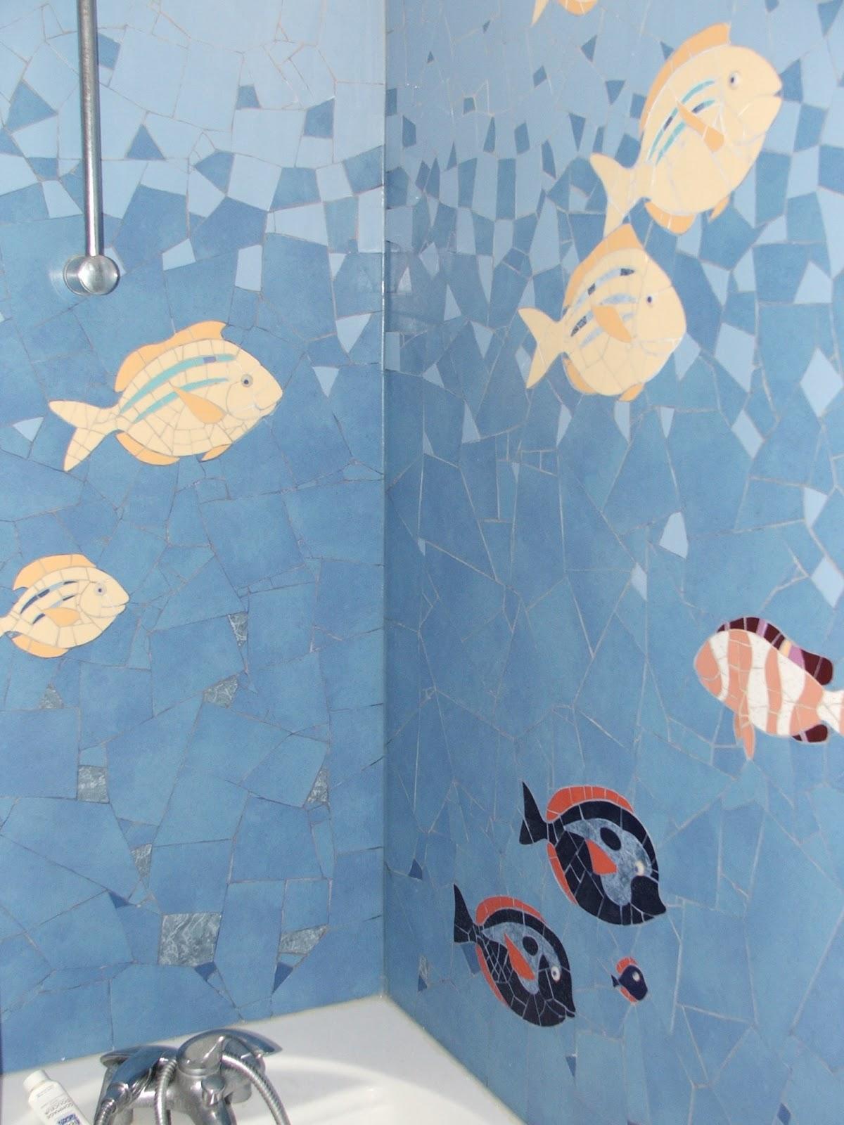 S verine peugniez cr ations fresque marine en mosa que for Fresque murale salle de bain