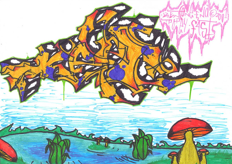Kent letters, wild style. With lake and mushrooms undrneath. Colored with orange and blue markers. Original naive, vintage graffiti sketch on copy paper by Kostas Gogas (akney), signed as Kent from his first Folder, 2001. ENA graffiti crew.