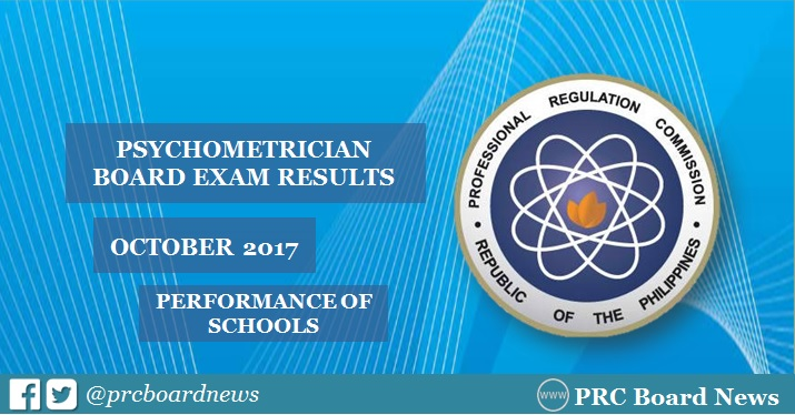 October 2017 Psychometrician board exam result: performance of schools