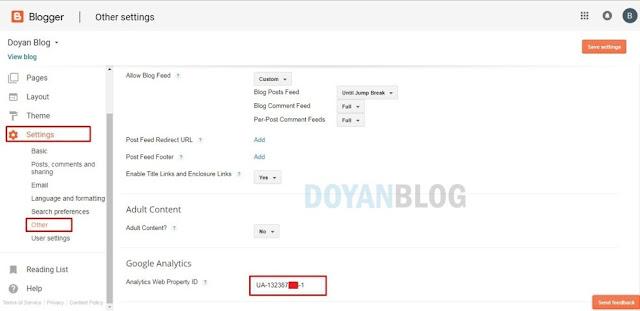 masuk setting blogger lalu pasang kode tracking id
